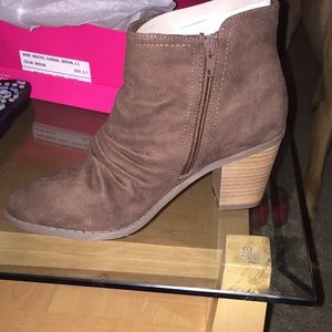 Brown ruched booties